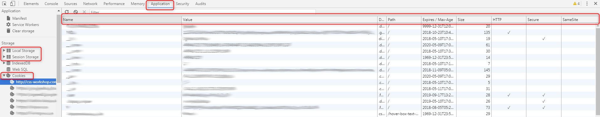 Check cookies, local and session storage in IE11, Edge